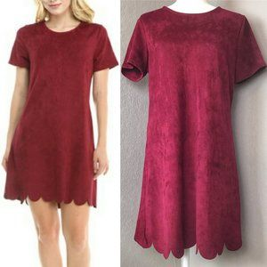 Lulu's Burgundy Suede Scalloped Shift Dress